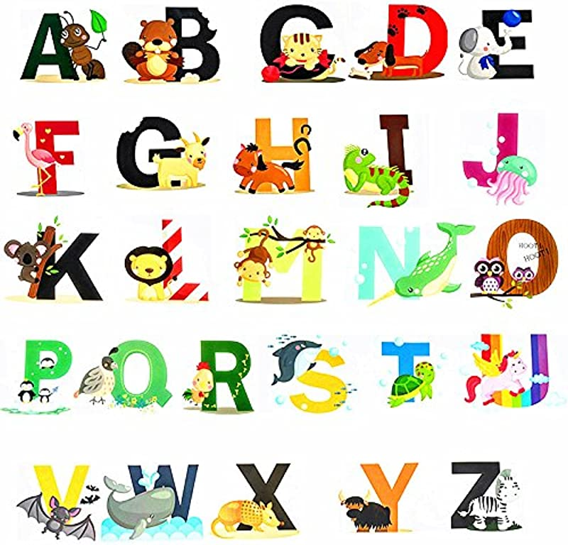 Fun Educational Alphabet With Animals For Baby Nursery And Kids Rooms Wall Decor Easy Peel Stickers Decals ABC Stickers Alphabet Decals DIY Alphabet Gifts