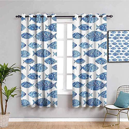 Nileco Cortinas Opacas Termicas - Azul abstracto animal pez - 160x115 cm - Cortinas del Dormitorio de la Habitación de los Niños - 3D Impresión Digital con Ojales Aislamiento Térmico