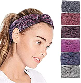 QIMOSHI 6 Packs Headbands for Women Girls Cotton Knotted Yoga Sport Hair Band Headwrap