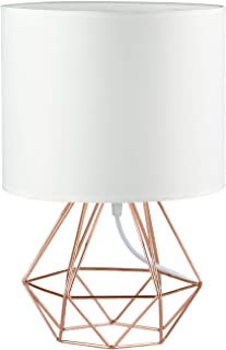 Modern Vintage Style Table Lamps - FRIDEKO Ecopower Minimalist Bedside Lamp Night Light Copper Fabric Light Shade Hollowed Out Cage Base Desk Lighting Fixture Best Gift for Girl - White - Rose Gold