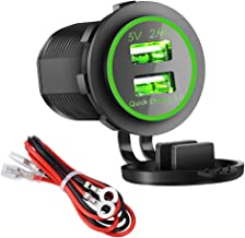 Dual USB Charger Socket Power Outlet - Quick Charge 3.0 & 2.4A Port for Car Boat Marine Rv Mobile with Wire Fuse DIY Kit (QC 3.0 - Green)