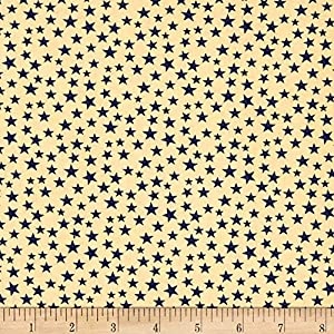 Santee Print Works Patriotic 108'' Quilt Backs Small Stars Fabric, Navy/Antique, Fabric By The Yard