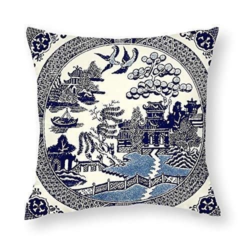 QMS CONTRACTING LIMITED - Funda de almohada de sauce azul de China para decoración del hogar, diseño de funda de cojín para sofá, dormitorio, coche, 45 x 45 cm