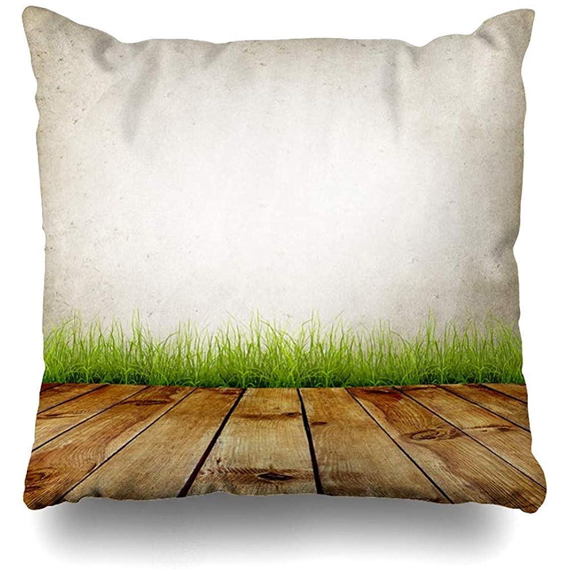 クアッガ弱点価格XixiL Old Wall and Green Grass on Wood Floor Decorative Throw Pillowcase Two Sides Printed Fashion Style Zippered Cushion Pillow Cover 20 x 20 inch 枕カバー;正方形; 20 * 20インチ;家;手頃な価格;