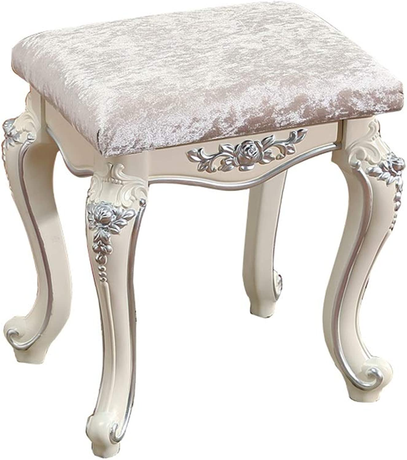 Dressing stools Silk Cotton MDF Frame Resin Comfortable Sofa Stool (color   Silver, Size   41  31  45cm)