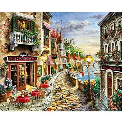 Pintura por números para adultos niños DIY pintura al óleo pintada a mano paisaje de la ciudad pintura decoración del hogar A2 50x70cm