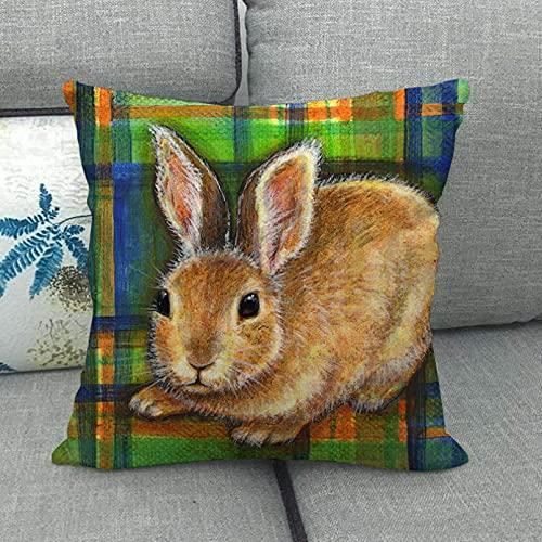 YQMJLF Funda Cojine Funda Almohada 45x45cm Estilo Conejito diseño de Conejo Funda de cojín de Lino/algodón Funda de Almohada de sofá Funda de Almohada Decorativa Sala sofá Decor hogar Navidad Regalo