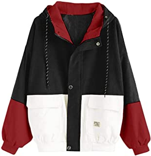 Jackets For Women,Kulywon Women Long Sleeve Corduroy Patchwork Oversize Jacket Windbreaker Coat Overcoat
