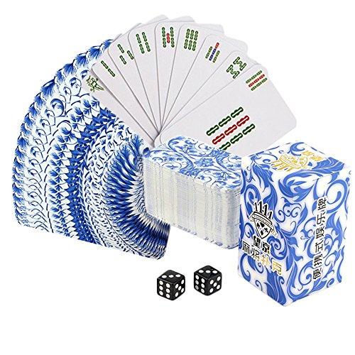 Drizzle Mahjong Poker Juego de Mesa de Naipes Porcelana Azul y Blanca China Diseño de Tarjeta de cachimba 144 Juego de plástico PVC Impermeable portátil Tiempo Libre