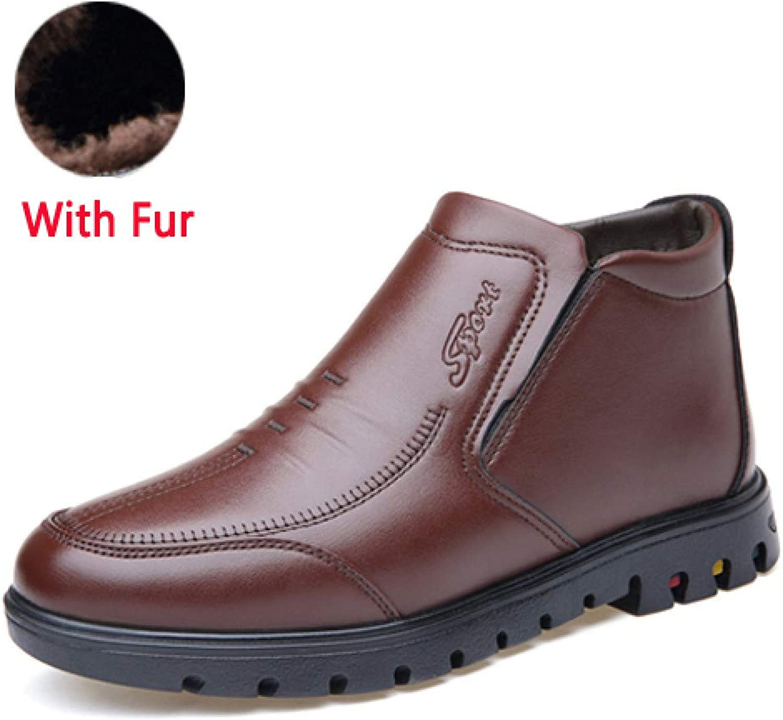 FHCGMX Classic Men Ankle Boots Quality Men Snow Boots Winter shoes Warm Man Boot shoes Slip On Father Men shoes