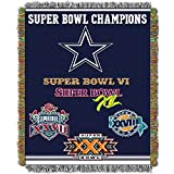 Officially Licensed NFL Dallas Cowboys 'Commemorative' Woven Tapestry Throw Blanket, 48' x 60', Multi Color