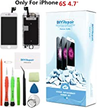 Premium Screen Replacement for iPhone 6S 4.7' - LCD Complete Repair Kit Display 3D Touch Digitizer Assembly with Earpiece, Front Camera, Proximity Sensor, Tempered Glass, Tools, Instruction (White)