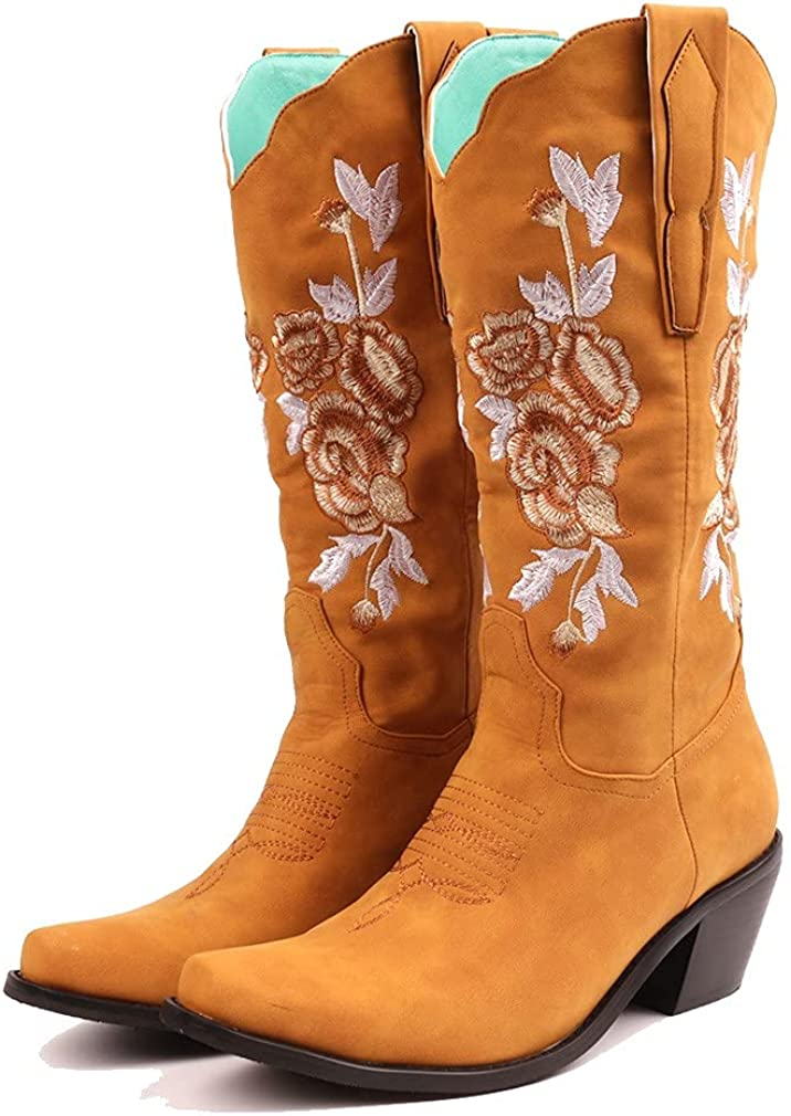 Edgchic Women Embroidered Snip Toe Cowgirl Cowboy Boots Ladies Retro Mid Calf Western Boots