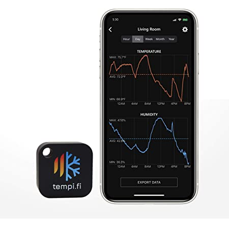 tempi.fi Mini Wireless Temperature and Humidity Sensor - Developed in The USA - 24/7 Data Logger with Alarm – Bluetooth Smart Thermometer and Hygrometer - Monitor Refrigerator Freezer Pets Humidor