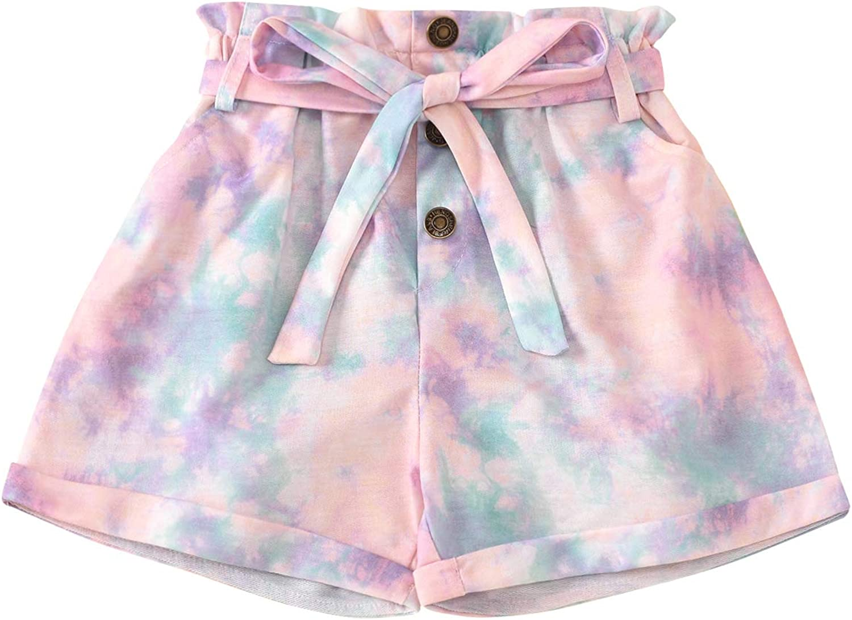 Toddler Girls Tie Dye Print Waistband Elastic Shorts Bott Rolled List store price