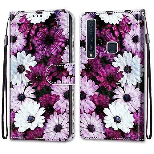 ShinyHülle für Samsung Galaxy A9 2018,Lederhülle Brieftasche Handyhülle ID Kartenfächer Magnetischer Etui Protective Anti-Scratch Schutz PU Leder Hülle für Galaxy A9 2018 -Lila Gänseblümchen