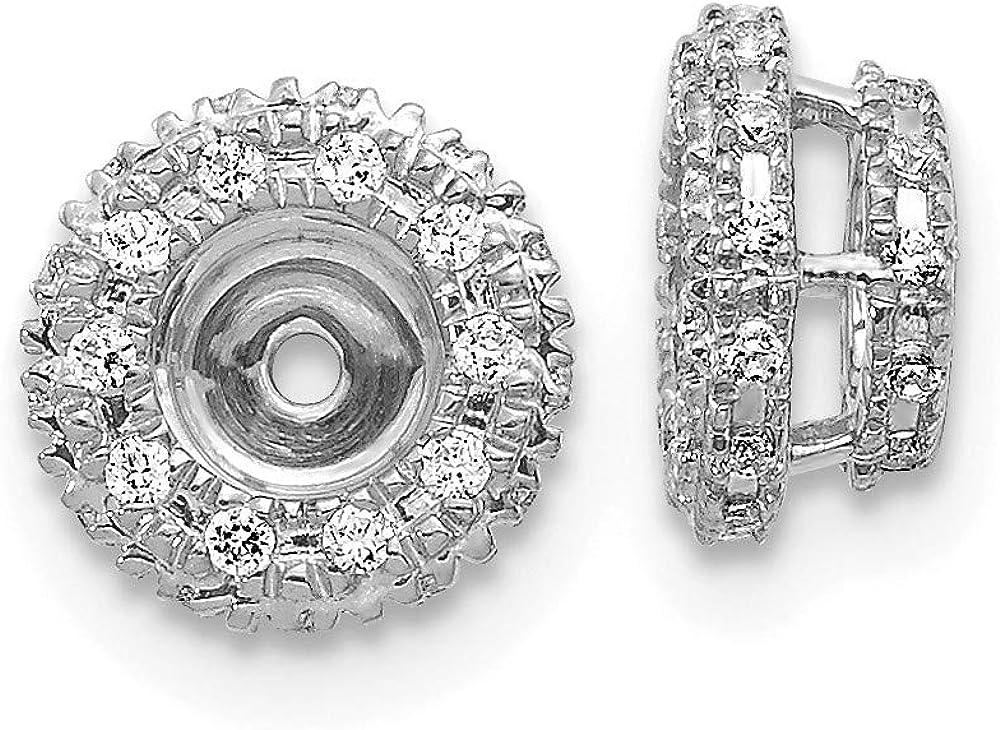 Affluent Rock 14k White Gold Diamond Earrings Jacket (0.31