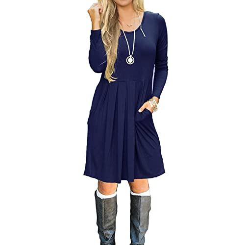 f80943ff1a8 LILBETTER Women s Long Sleeve Pleated Loose Swing Casual Dress with Pockets  Knee Length