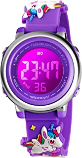 Kids Watch Cartoon 3D Digital Sport Watch with 7 Color Lights and Alarm- Gifts for Boys Girls Child Wristwatch