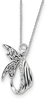 925 Sterling Silver Cubic Zirconia Cz Angel Of Perseverance 18 Inch Chain Necklace Pendant Charm Religious Inspirational Fine Jewelry Gifts For Women For Her