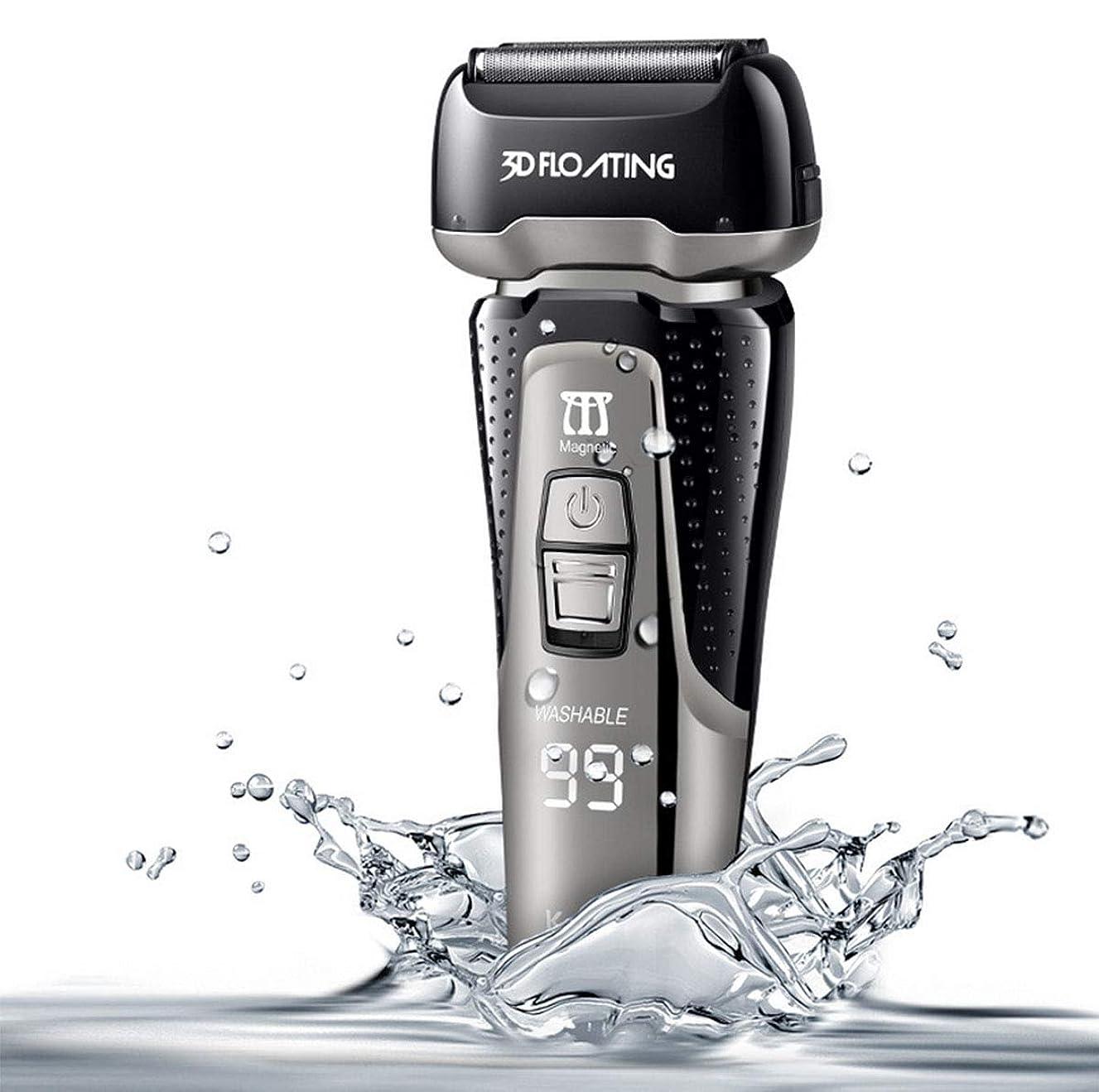 有効化アニメーションクランシーひげそり 電動 メンズシェーバー 電気カミソリ 電動髭剃り リニアモーター搭載 IPX7防水 本体丸洗い 3枚刃 USB充電式 持ち運び便利
