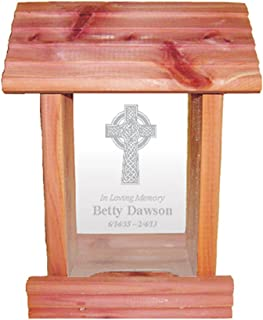 Urns Northwest Personalized Memorial Bird Feeder - Hanging Cedar Wood Bird Feeder with Custom Engraved in Loving Memory Inscription & Choice of Theme Sympathy Gift Made in USA (Celtic Cross)