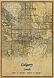 Canada Calgary-Karte, Wandkunst, Poster, Leinwanddruck,