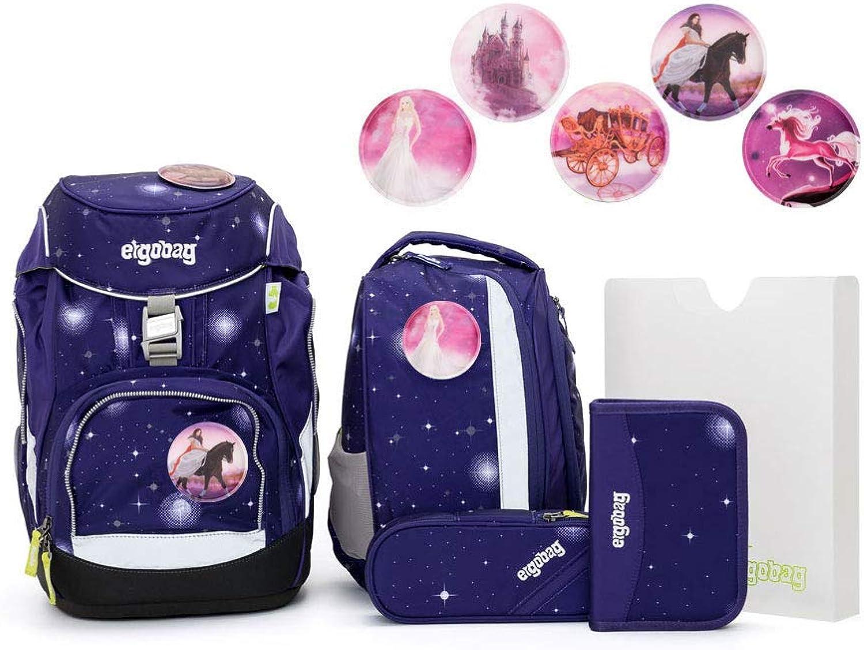 Ergobag Pack Schulranzen-Set 6tlg FeenzauBr Glow mit Wunschkletties (Prinzessin)