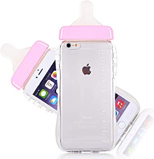 Generic Baby Bottle Cute 3D TPU Soft Pregnant Woman Milk Bottle Clear Case Lanyard Case Cover for iPhone 6 plus (Pink)