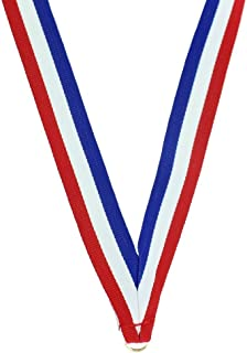 34 x 7/8 Inch Red, White and Blue Neck Ribbon with Jump Ring - Pack of 40