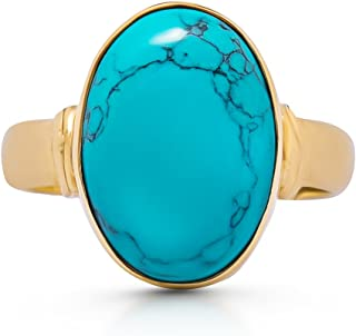 14K Gold Plated Synthetic Turquoise Ethnic Ring Vintage Gipsy Boho Chic US Size 6 7 8 9