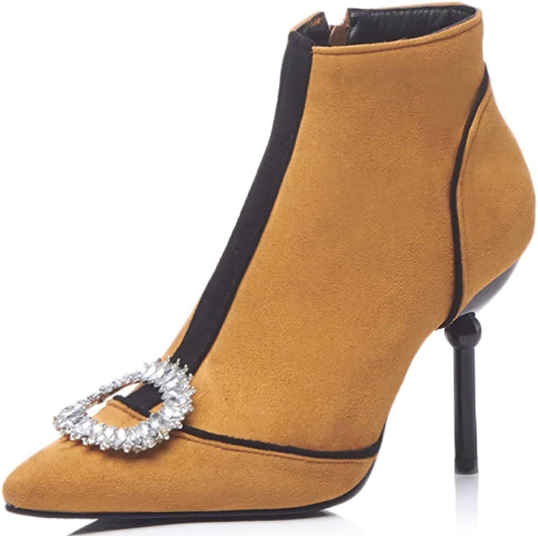 DoraTasia Women 's Fashion High Heel Ankle High Boots Stiletto Rhinestone Pointed Toe Plush Dress shoes