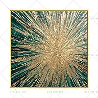キャンバス絵画グリーン抽象ポスター絵画リビングルームの現代アート写真現代キャンバスアート高品質-60x60cm-フレームなし