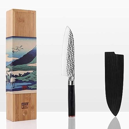 KOTAI - Santoku Couteau de Chef (Couteau de Cuisine Professionnel) - Lame de 18 cm - Aiguisé à la Main - Acier Inoxydable Japonais 440C Ultra-Tranchant et Manche en Pakkawood