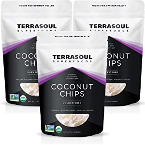 Terrasoul Superfoods Raw Coconut Chips (Organic), 2.25 Lbs (3 Pack)
