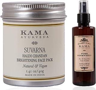 Kama Ayurveda Suvarna Haldi Chandan Brightening Face Pack, 40g & Kama Ayurveda Pure Rose Water Face and Body Mist, 6.7 Fl Oz