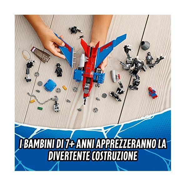 LEGO-Super-Heroes-Spider-Jet-Vs-Mech-Venom-Set-di-Costruzioni-per-Bambini-con-3-Minifigure-LEGO-SpiderMan-Noir-Venom-e-Accessori-7-Anni-76150