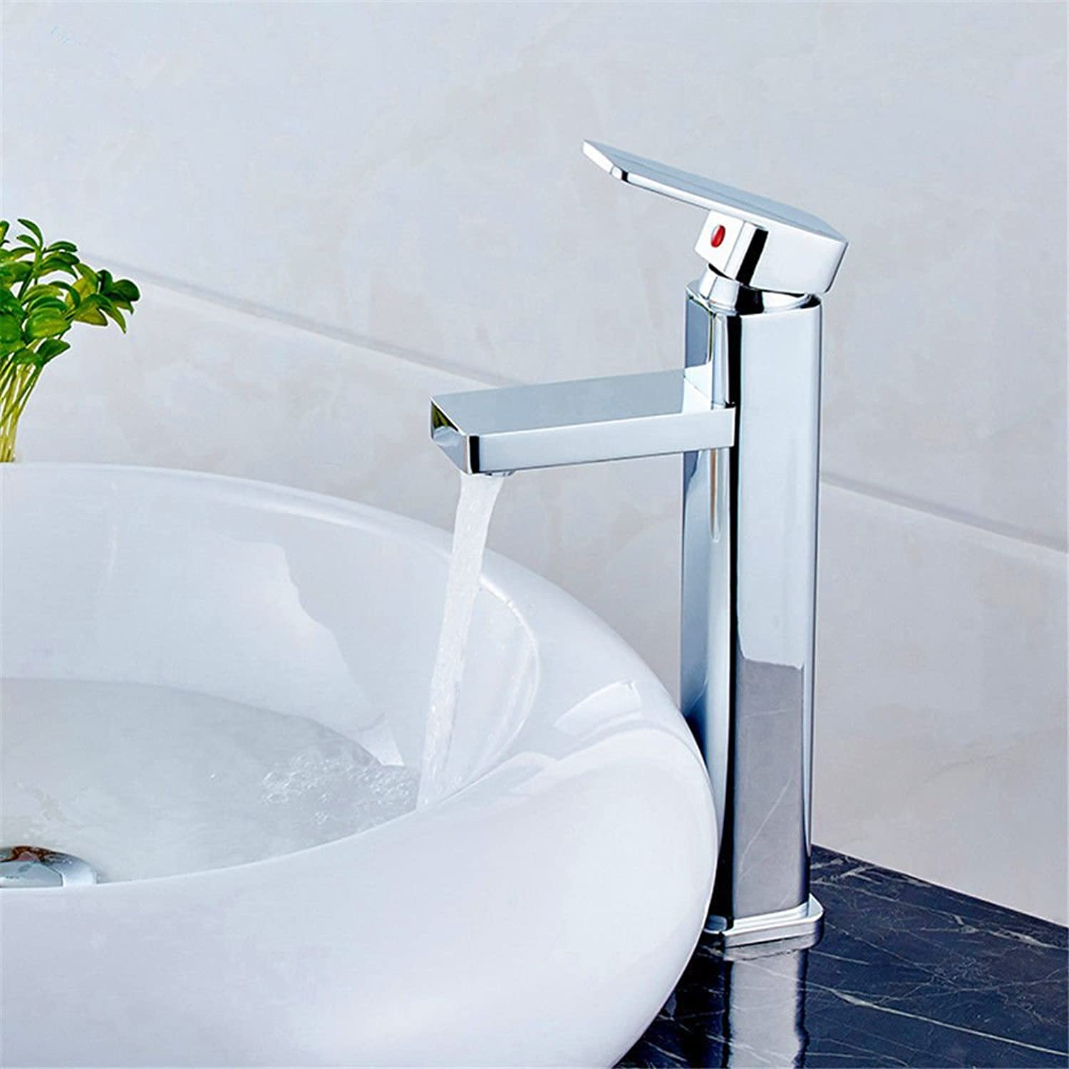DOJOF Bathroom Sink Faucet Basin Mixer Tap Hot and Cold Water Copper Square Single Lever Single Hole Square Basin Sink Tap Bathroom Bar Faucet