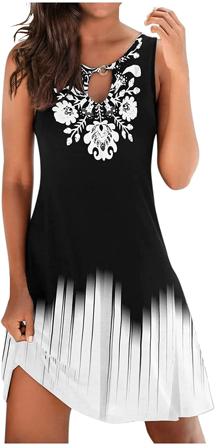 Kcocoo Summer Dresses for Women, Womens Casual Floral Print Hollow Sleeveless Beach Party Mini Dress A-Line Flowy Sundresses