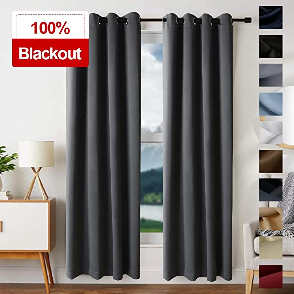 EDILLY Blackout Curtains For Living Room Easy Care Solid Thermal Insulated Grommet Room Darkening Curtains Panels Drapes For Bedroom 2 Panels W52xL63 Inch Length Dark Gray