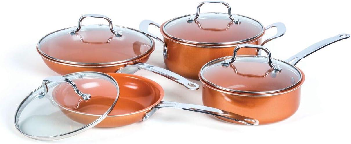 8 Piece Excellent Non-Stick Cheap Copper Cookware Set