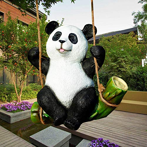 plzxy Outdoor-Ornamente für den Garten Dekorativer Anhänger am Baum@Schaukel Panda