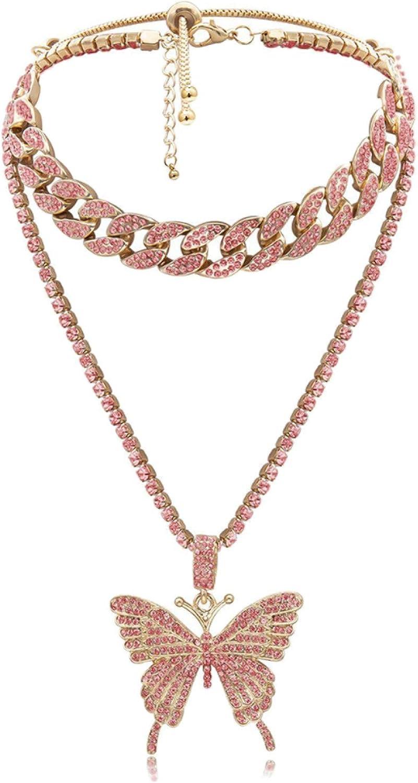 Phoenix Mall Fashion Punk Style Rhinestone Free Shipping New Butterfly Pendant J Necklace Chain