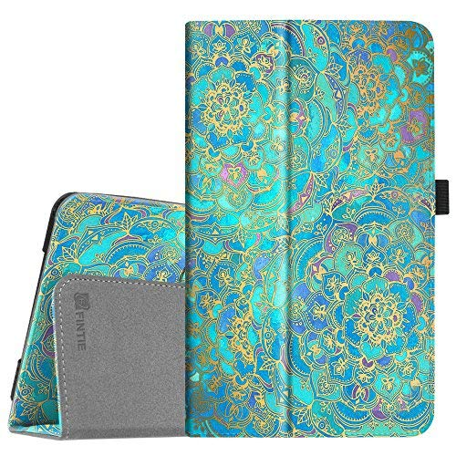 Funda tipo libro para Samsung Galaxy Tab A 8.0 2017 modelo T380/T385, funda de piel sintética de alta calidad con función atril para Galaxy Tab A 8.0 pulgadas SM-T380/T385 2017, tonos de azul