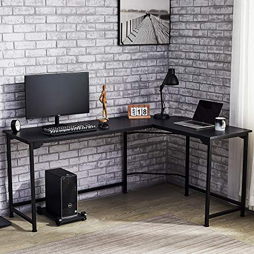 "CO-Z L Shaped Computer Desk with Tower Stand | 72"" & 53"" Corner Desk with Cable Management 