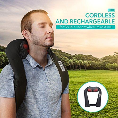 Naipo Nackenmassagegeräte wiederaufladbare Massagegerät freihändige Massagekissen für Nacken Schulter Rücken mit Lang-Gürtel Shiatsu Kneten Wärmefunktion verstellbare Intensität für Büro Auto Zuhause
