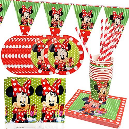 Yisscen Juego de vajilla de cumpleaños, Minnie Decoración de mesa de cumpleaños para niños incluye platos, tazas, servilletas, manteles, Pajitas,Pancartas Party Supplies (52 Piezas,10 Invitados)