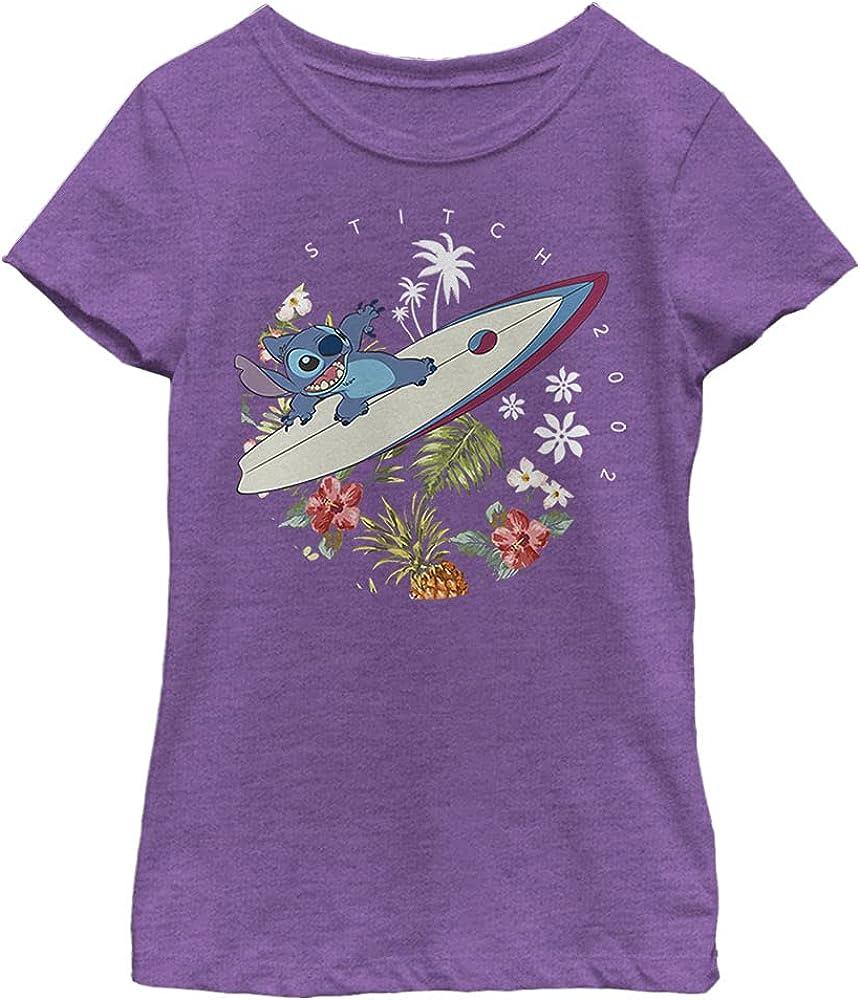 Disney Lilo & Stitch Surfer Dude Girl's Heather Crew Tee