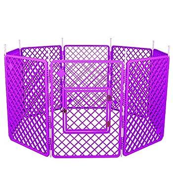 Iris Ohyama, parc pour chien/ cage d'extérieur/ enclos/ chenil 8 éléments  - Pet Circle - H-908, plastique, violet, 11,4 kg, 60 x 60 x 86 cm