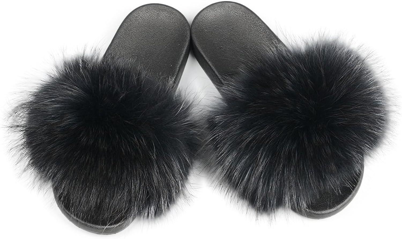 Jancoo Max kvinnor Real Raccon Fur Fur Fur Slippers Slippers Inoor utomhus Flat Soles Soft sommar skor  unik design